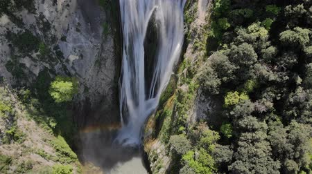 arktický : Aerial flight over the Waterfall that is in Tivoli Italy. Waterfall in the national Park in Sunny weather