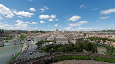 Streets and houses of Rome from aerial view. tourist places and panoramas of Rome. Sunny day in Rome