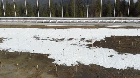sníh : Biathlon. Panorama of targets for shooting during the biathlon. The numbering of the targets