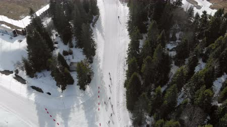 Aerial view Biathlon. Athletes students participating in local competitions. Passage of distance group of athletes in the mountains.