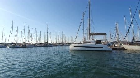 residencial : Spanish Boats in Marina Valencia. View of the yachts in the port from a pleasure boat. Yacht club in Spain