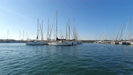 vessels : Spanish Boats in Marina Valencia. View of the yachts in the port from a pleasure boat. Yacht club in Spain