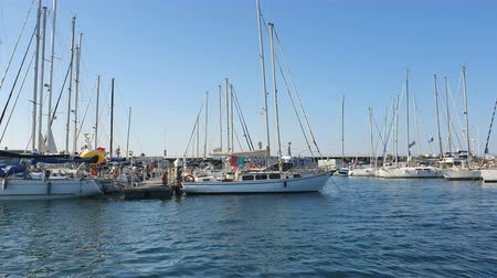Spanish Boats in Marina Valencia. View of the yachts in the port from a pleasure boat. Yacht club in Spain