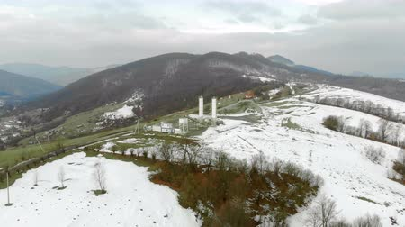zákaz : Aerial view coal distribution station which is in the mountains in winter