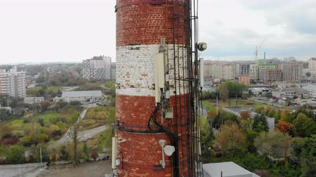 дымоход : Trba plant, which are transmitting antennas. Flying around the tube quadcopter. Стоковые видеозаписи