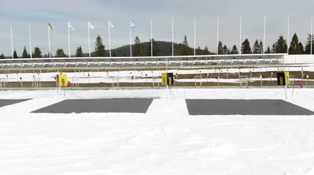 medaille : Biathlon. Panorama of targets for shooting during the biathlon. The numbering of the targets