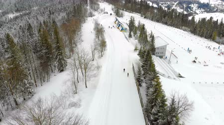 nástup do letadla : Aerial drone shot of Skiers pass the track in winter in the fabulous mountains. The forest is covered with snow and piste skiing