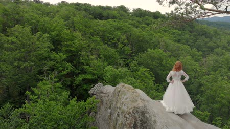 noiva : Aerial footage, Bride is on the edge of the abyss. High cliffs surround the bride. The camera slowly flies and flies away from the bride Stock Footage