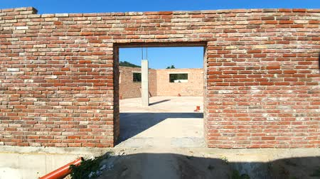 brickwall : Red brick building was not completed. A room in an unfinished house.