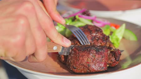 étkező : Close-up cut juicy freshly baked meat on a plate. Mens hands cut off a piece of meat on the street Stock mozgókép