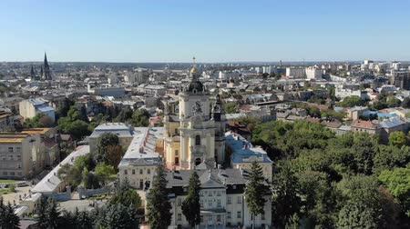 liturgy : Aerial view of Church of St. George St. Jura in Lviv. Flight over the city of Lviv and the Cathedral church. Stock Footage
