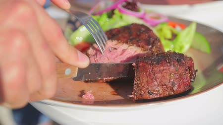 diner : Close-up cut juicy freshly baked meat on a plate. Mens hands cut off a piece of meat on the street Stock Footage