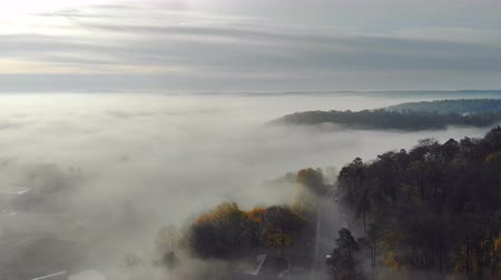 forwards : Flying over the fabulous morning mist over the city. The sunrise and the colored rays reflected in the mist . Fabulous morning in the fog filmed by drone