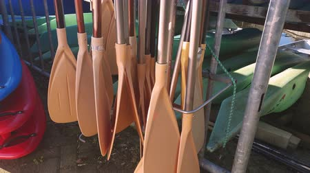 kano : Oars from a boat that are in storage close-up