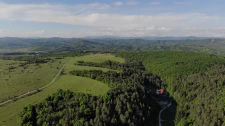 wood glade : Aerial View to Beautiful green lawns in the mountains on a Sunny day. Flight over the Carpathians in Ukraine.