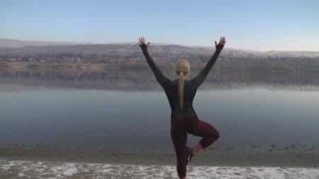 A female athlete performs tree pose in front of river in the early morning. Stok Video