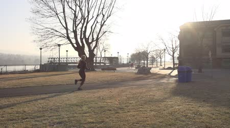 Long shot of female runner in the park with sunshine Stok Video
