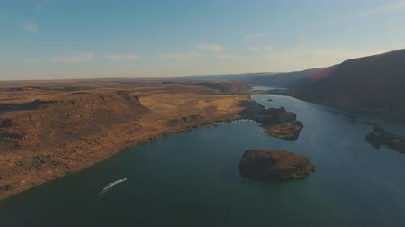 4K Colorful River Canyon.  Boating and rock formations. Stok Video