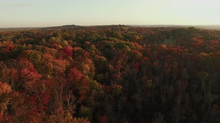4K AERIAL of New England horizon in Autumn at sunset