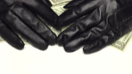 кража : Hands of Burglar in Leather Gloves Stealing Money Стоковые видеозаписи