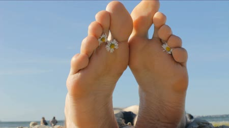 male : Feet of a young man lying on a sunny seashore, taking sunbath with chamomile flowers in between toes.