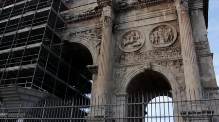 costantino : Famous Arch of Constantine near Coliseum in Rome, Italy. Filmed with tilt up.