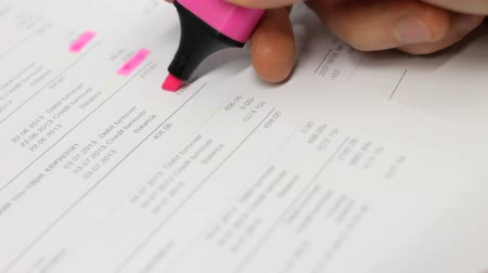 checkbook : Book keeper working with papers. Stock Footage
