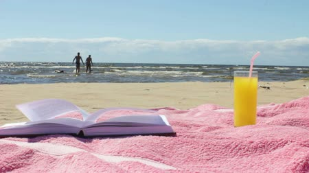Glass of Juice and Open Book on the Sunny Summer Beach Vídeos