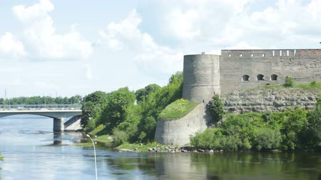 Medieval Castle at the Border Between Russia and European Union on Narva River