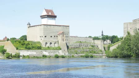 Narva River and Castle on a Sunny Summer Day Vídeos
