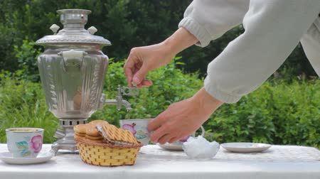 Drinking Tea Traditional Russian Style with Samovar Outdoors