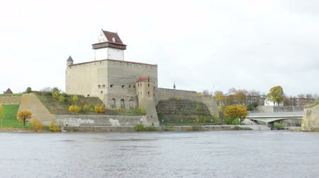 Beautiful Medieval Castle and River Scenery in Autumn