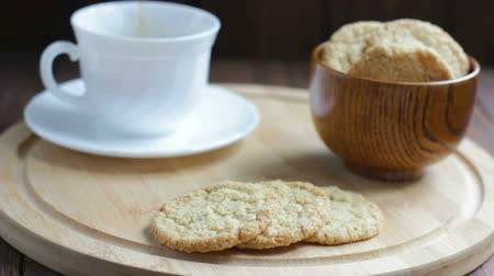 Tea with Oat Cookies on Wooden Background Vídeos