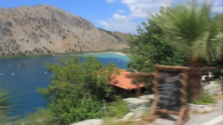 On the road near Lake Kournas, the largest freshwater lake on the island of Crete