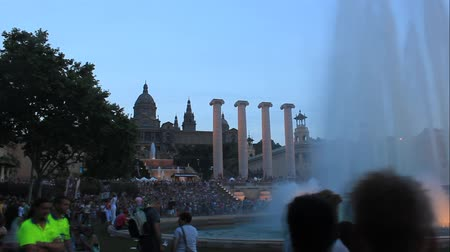BARCELONA, SPAIN - JULY 13, 2013: Fountains in the square of Spain in Barcelona. Place of pilgrimage for tourists from around the world Stock Footage