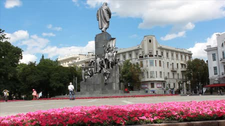 KHARKIV, UKRAINE - JUNE 22, 2014: Monument to Taras Shevchenko on the main street of Kharkiv - the main gathering place of the Ukrainian patriots