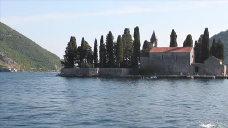 KOTOR BAY, MONTENEGRO - JUNE 27, 2017: Island of Sveti Djordje in Boka-Kotor Bay Stock Footage