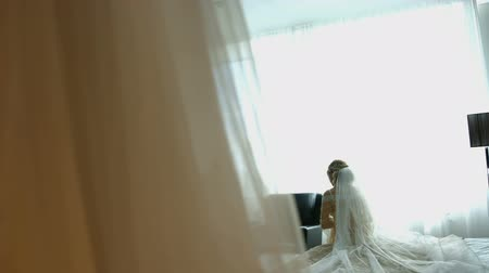 The bride touches her wedding dress Stock Footage