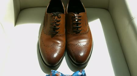 close-up of lightened with natural light mens shoes and bow tie. Shoes and bow tie lying