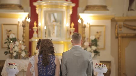 Wedding in a chapel Catholic church Stock Footage