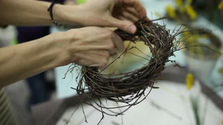 csajok : Children make a nest for birds, nest for birds Stock mozgókép