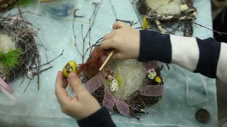 bird eggs : Children make a nest for birds, nest for birds Stock Footage