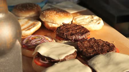 кунжут : Cooking hamburgers on a picnic