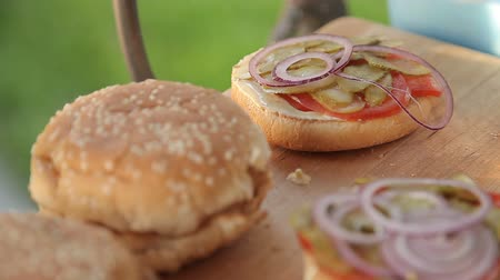 plamen : Cooking hamburgers on a picnic