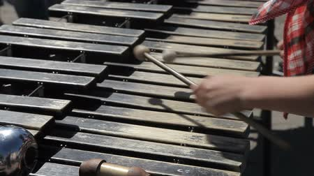percussão : A street musician plays on a metallophone Stock Footage