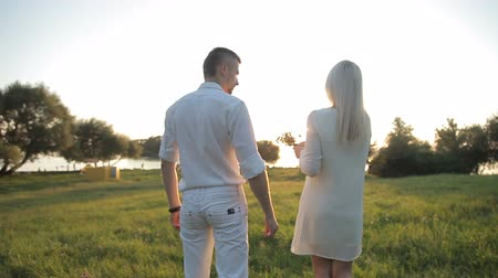 namiętność : A loving couple walks in the background of the sun Wideo