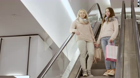bavul : Happy mother and her daughter going down the escalator in the mall Stok Video