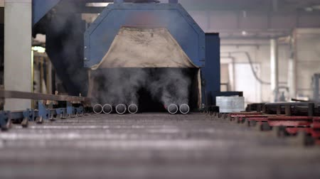 fornuis : Furnace for heat treatment of metal and metal pipes. Metal pipes are loaded into a hot oven for heat treatment. smoke from the chimney Stockvideo