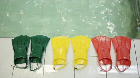 купальник : Diving fins in three different colors at the edge of the pool. Green yellow red color. Fins made of rubber and plasmass for swimming on a background of water. Стоковые видеозаписи
