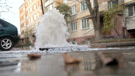 borowina : Flushing the city water supply. Flushing and disinfecting pipes of the urban water supply system
